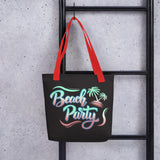 Beach Party Neon Hour Tote Bag Black,Red from %store_name% at 28.00 USD