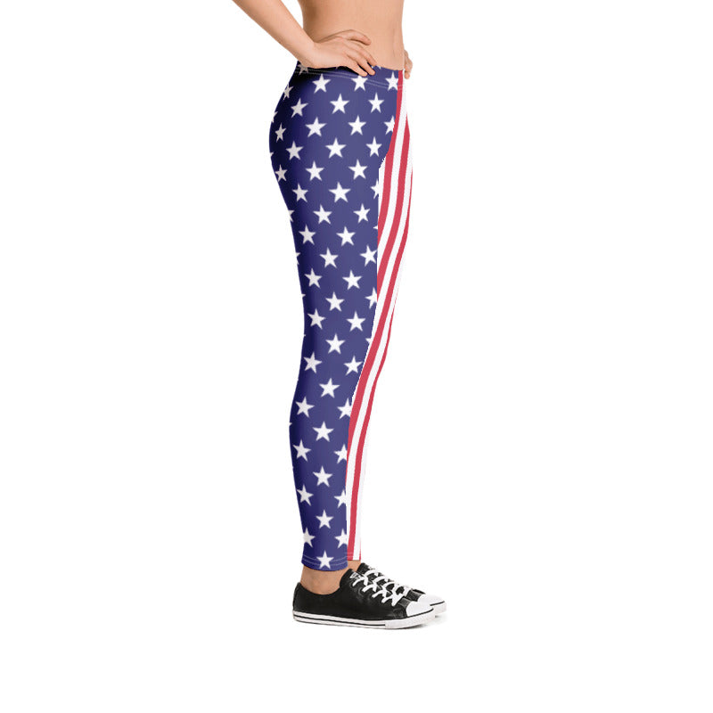 Stars Stripes Women Leggings - American Flag Leggings 4th of July Red White Blue Yoga leggings USA Flag leggings Yoga Pants Thin Blue Line Handmade Comfortable Printed Leggings XS,S,M,L,XL from %store_name% at 49.95 USD