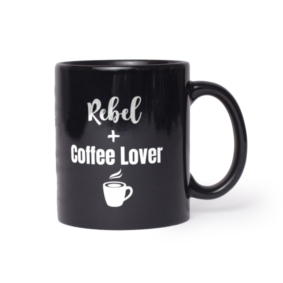Rebel + Coffee Lover Black Lifestyle Mug 11 oz,15 oz from %store_name% at 11.00 USD