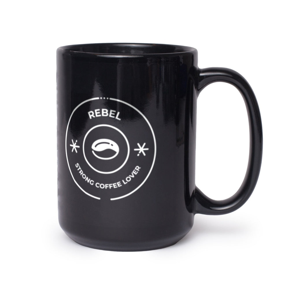 Rebel + Strong Coffee Lover Lifestyle Black Mug 11 oz,15 oz from %store_name% at 11.00 USD