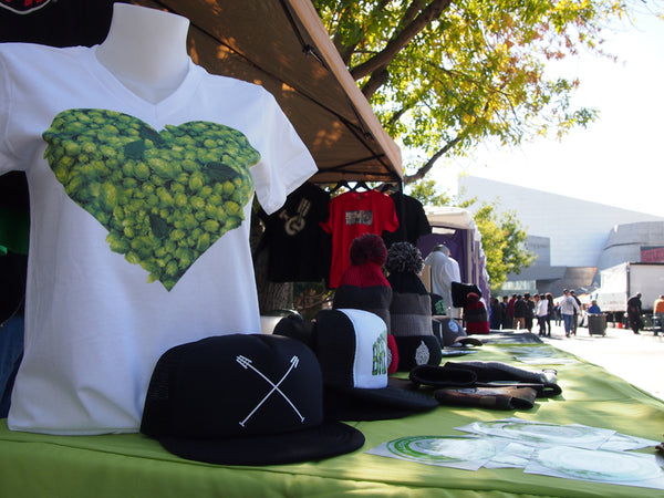 BrewHeads apparel booth at Phoenix Beer Fest. Love Hops, Hop trucker hat and more.