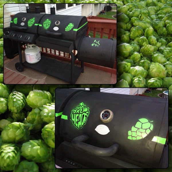 custom BBQ grill with BrewHeads logo