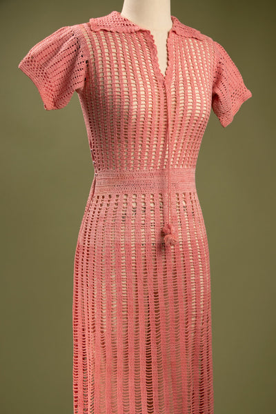 Vintage 1930's Pink Cotton Crocheted Dress
