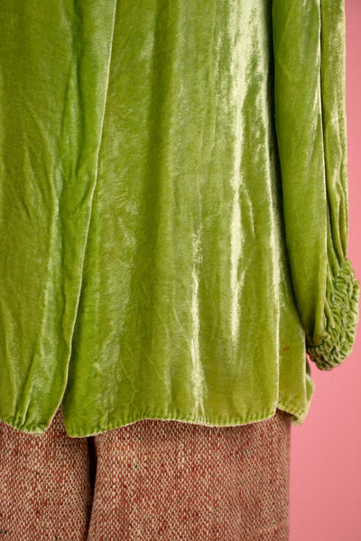 Vintage 1930's Green Velvet Blouse with Rhinestone Clasps