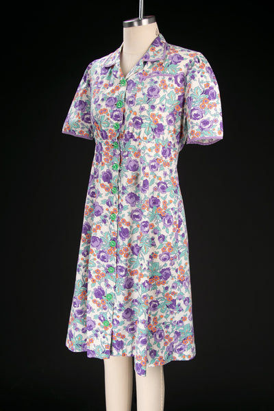 1940's Purple & Orange Floral Feedsack Dress with Green Buttons