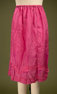 Antique 1920's Fuscia Silk Flapper Skirt