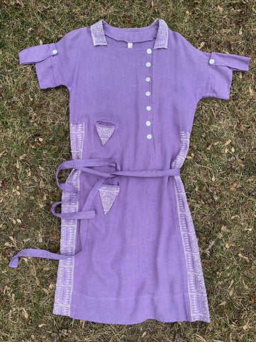 1930's Purple Linen Dress