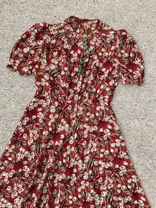1930's Red and Green Novelty Print Dress