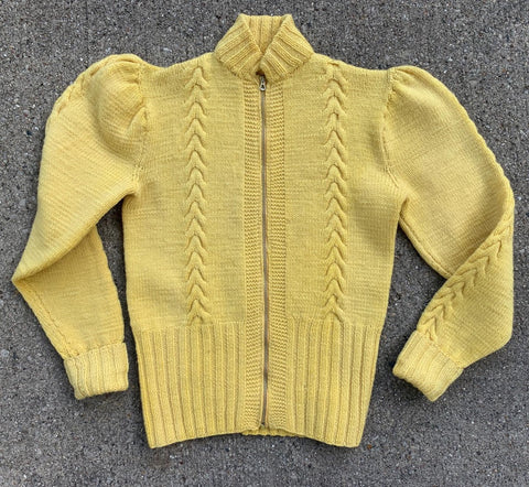 1930's Heavy Wool Zip Up Sweater