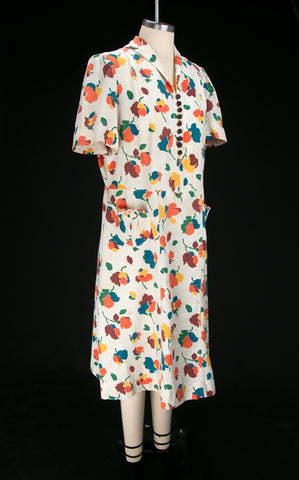 Vintage 1930's Warm Toned Floral Dress with Bakelite Buttons
