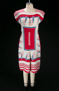 Vintage 1930's Linen Red White & Blue Tablecloth Dress