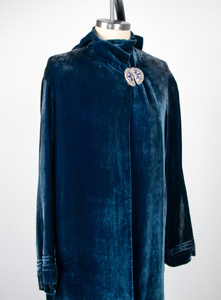 Vintage 1930's Blue Silk Velvet Jacket with Rhinestone Clasp