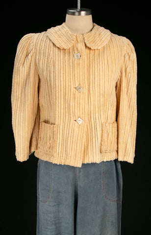Vintage 1930's Soft Chenille Cropped Jacket