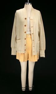 Vintage 1930's Cream Wool Athletic Cardigan / Sportswear