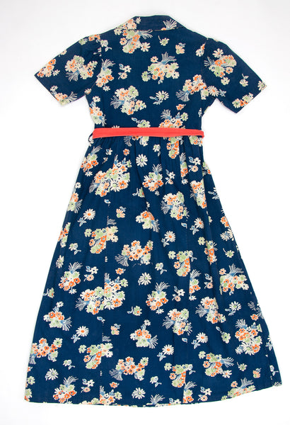 Vintage 1930's - 40's Floral Cotton Dress