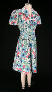 Vintage 1930's Vibrant Floral Cotton Wrap Dress
