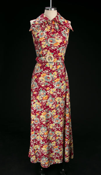 Vintage 1930's - 40's Floor Length Cotton Dress with Matching Belt & Jacket