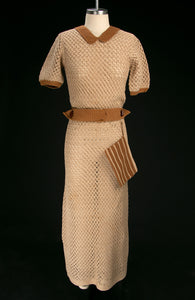Vintage Early 1930's Crochet Knit Dress & Belt with Matching Clutch