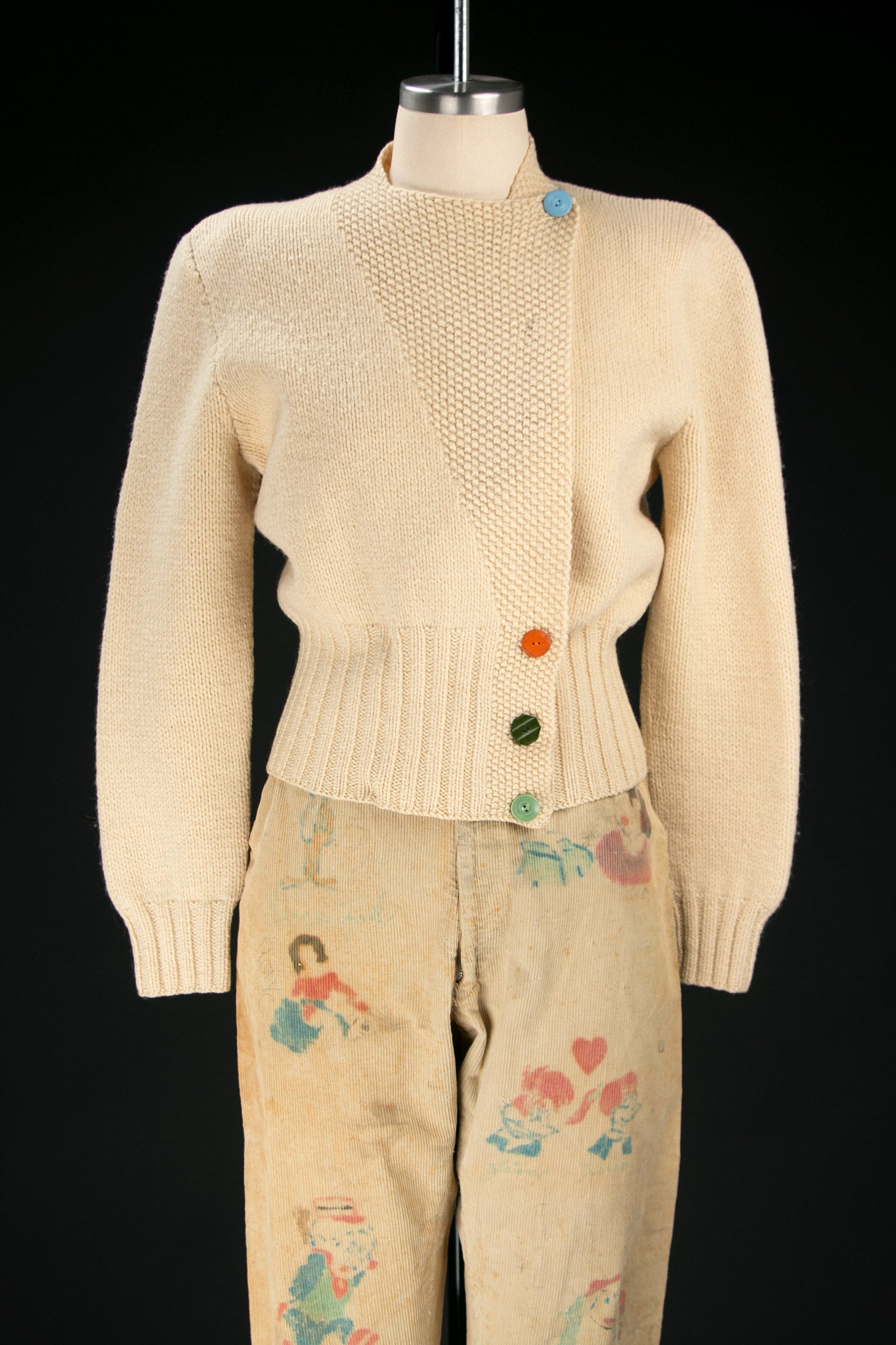 Vintage 1930's Cream Knit with Colored Buttons