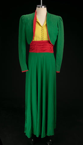 Vintage 1930's - Early 1940's Rayon Crepe Colorblock Dress Set