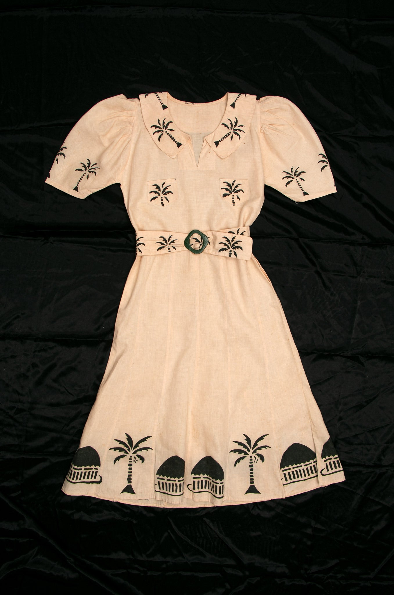 Vintage 1930's Block Print Tropical Dress