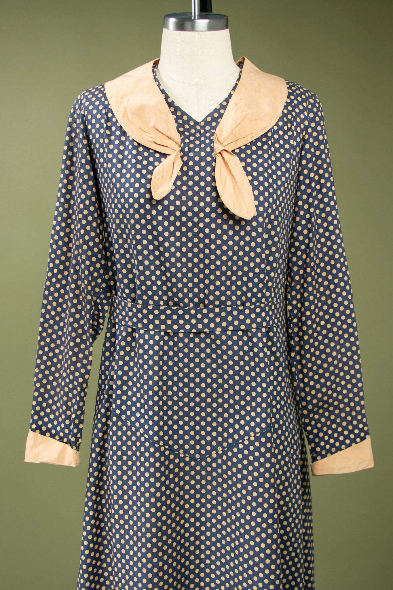 Vintage 1920's - 1930's Polka Dot Cotton Dress with Long Sleeves