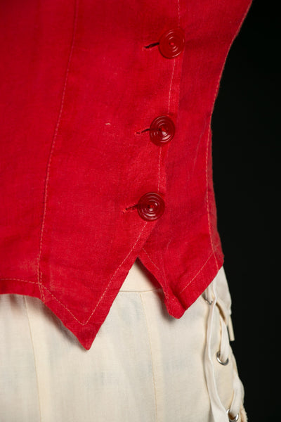 Vintage 1930's Red Linen Blouse with Bakelite Buttons