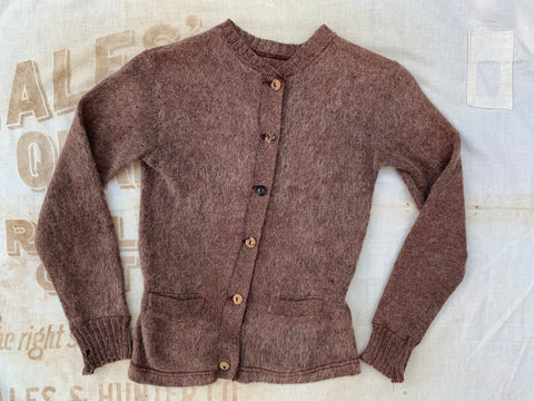 1930's Brown Mohair Sweater with Side Buckles