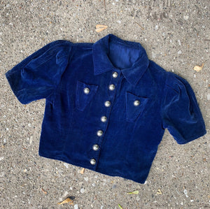 1930's Blue Velvet Blouse