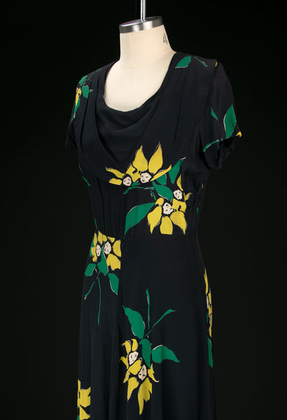 Vintage 1940's Anthropomorphic Floating Flower Face Dress
