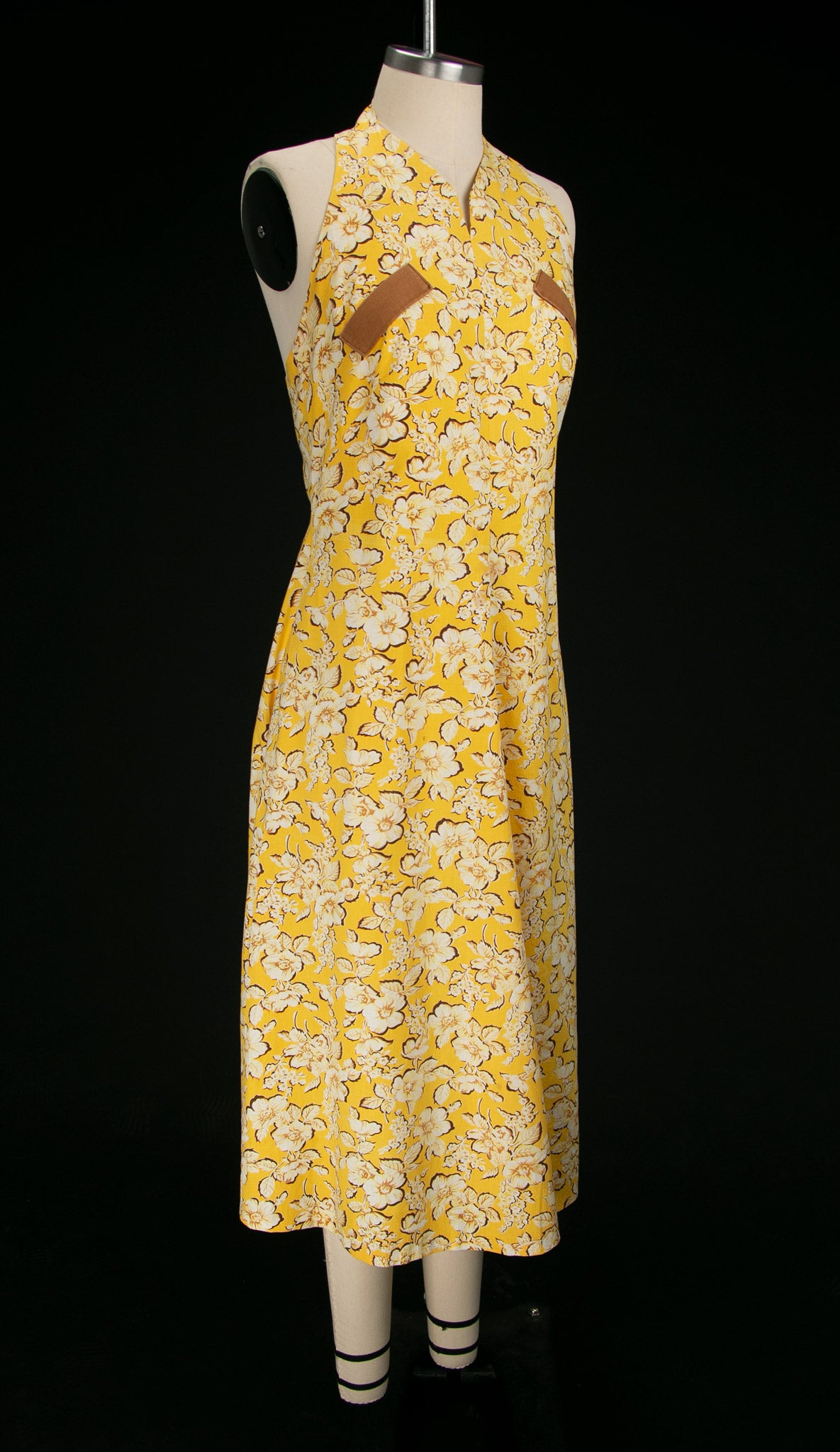 Vintage 1930's - 40's Yellow Floral Halter Dress