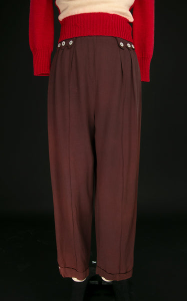 Vintage Early 1940's Relax Slacks of Hollywood Chocolate Brown Pants