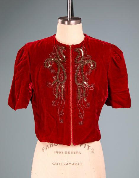 Vintage 1930's Red Velvet and Sequined Zip Up Top