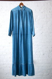 Antique Blue Calico Dress with Embroidered Elda Name