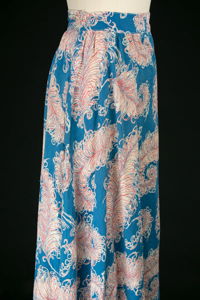 Vintage 1940's Seersucker Feather Print Skirt