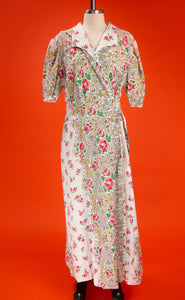 Vintage 1940's Volup Cotton Floral Wrap Dress
