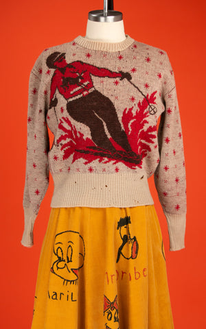 Vintage 1940's Barclay Wool Ski Sweater