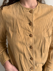Early Vintage 1920's 1930's Best & Co Paris NY Suede Kidskin Leather Shirt Jacket