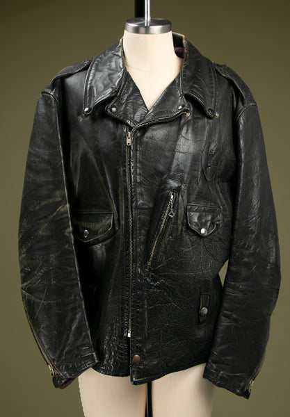 Vintage 1950's Black Leather Jacket with Talon Zipper
