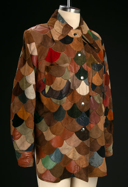 Vintage 1970's Scalloped Patchwork Leather Jacket