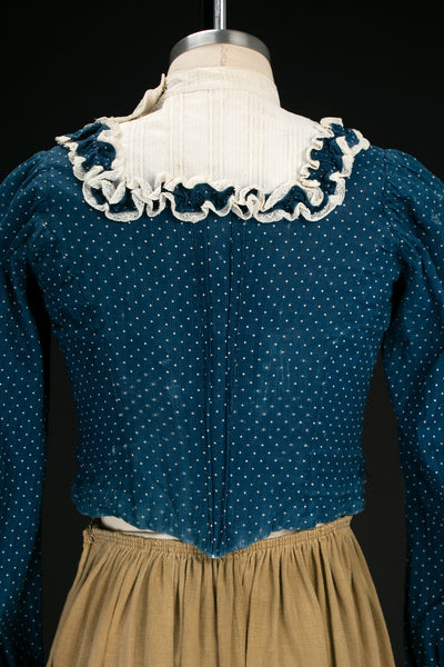 Antique 1890s-1900's Swiss Dot Indigo Bodice / Calico Blouse with Ruffles