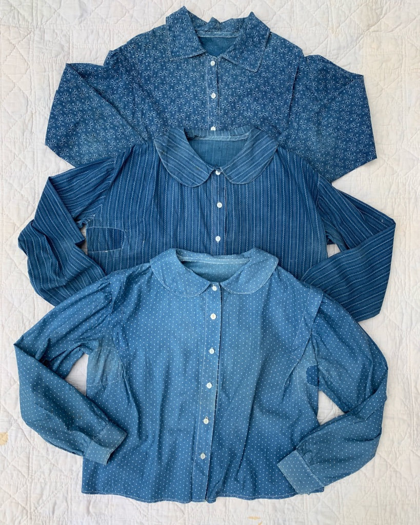 Three Blue Calico Blouses