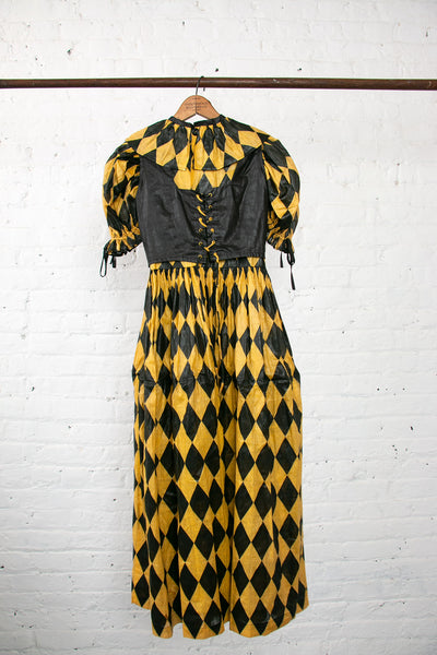 Early Vintage 1920s 1930s Harlequin Print Dress