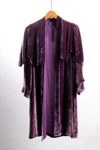 Vintage 1920's - 1930's Purple Silk Velvet and Chiffon Scalloped Jacket
