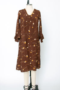 Early Vintage 1920s 1930s Silk Deco Print Dress Long Sleeve Women's