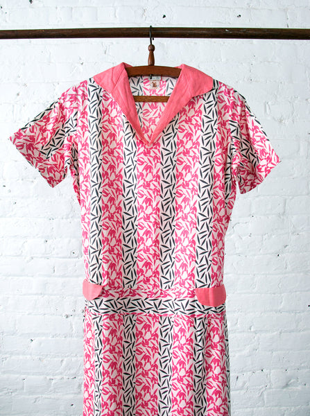 Early Vintage 1920's - 30's Day Dress Deadstock in Pink
