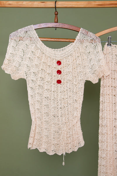 Vintage 1930's Ivory Crochet Set with Red Bakelite Buttons