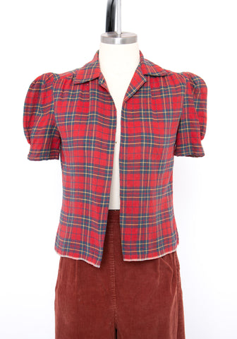 Vintage 1930's Flannel Puff Sleeve Top
