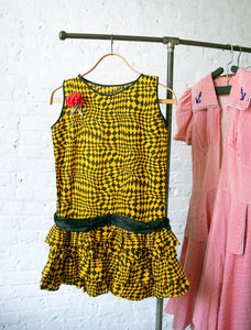 1930's Black and Yellow Op Art Halloween Dress in Combed Cotton