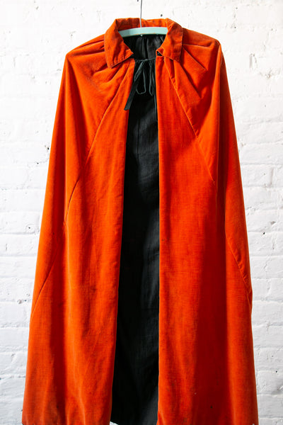 Vintage 1930's Era Orange Velvet Cape